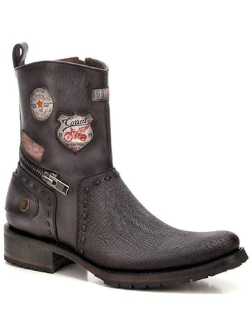Men's Patched Exotic Shark Short Boot 8.5D- C3316