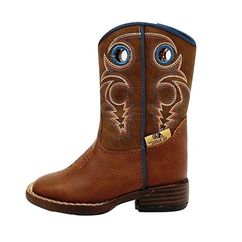 Double Barrel Boy's Dylan Brown with Blue Leather Cowboy Boot - 4416232