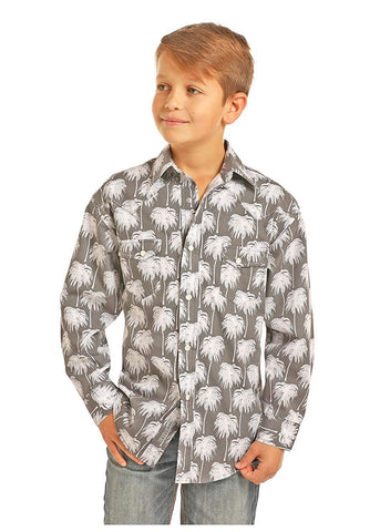 Rock & Roll Cowboy Poplin Palm Print Long Sleeve Snap Shirt - B8S1141