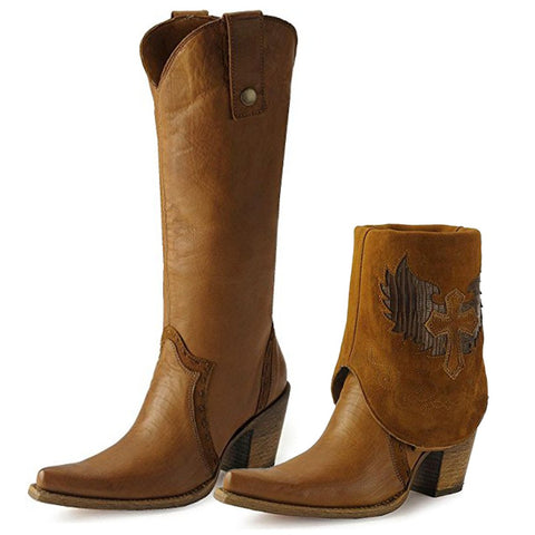 Women's Cross Lizard Cuffed Pointed Toe Cowgirl Boots - C2213