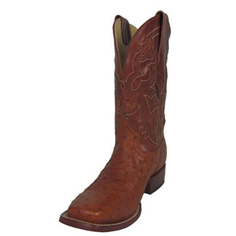 Corral Men's Small Quill Ostrich Leather Star Inlay Square Toe Cowboy Boots - A1318
