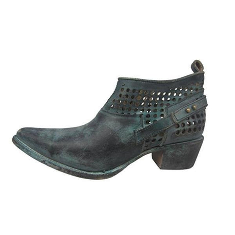 Corral Women's Distressed Green Shortie Pointed Toe Boots - C3051