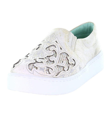 CORRAL White Embroidered Glitter Inlay Sneakers E1562