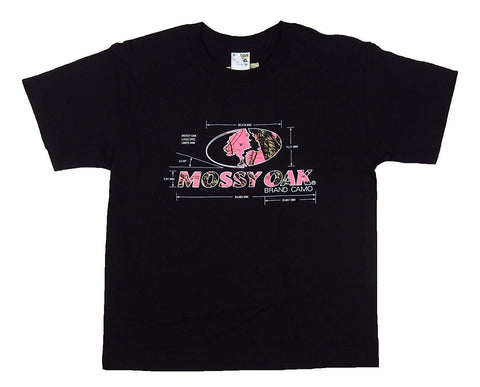 Mossy Oak Youth Calculations Tee Girls Black Short Sleeve T-Shirt Pink Camo