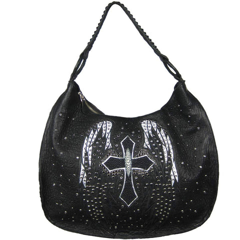Corral Black Studs and Crystals Wings and Cross Stingray Shoulder Bag - Z1000