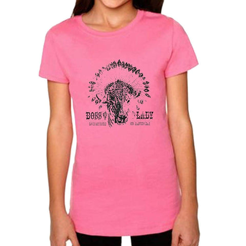 STS Ranchwear Youth Boss Lady Tee Pink, Small