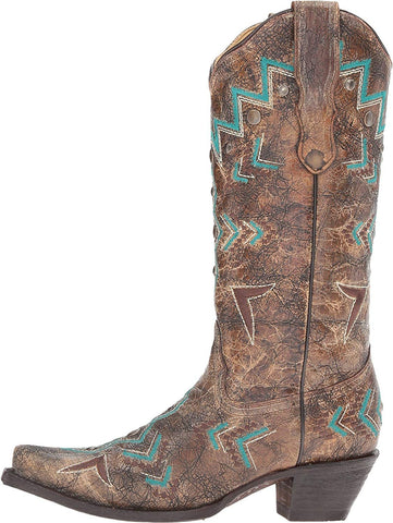Women's Bronze and Turquoise Southwest Cowgirl Boot - E1014