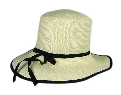 "Stetson Natural Raymonde Straw Hat Fedora Size Medium R Oval 3 1/2"" Brim"