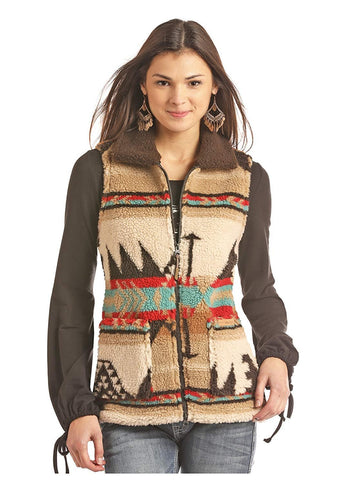 Powder River Outfitters Aztec Jacquard Berber Vest, Brown