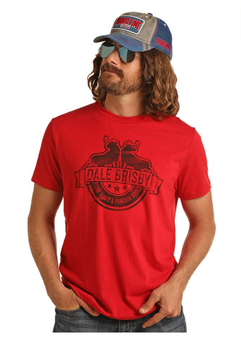 Rock & Roll Cowboy Dale Brisby Graphic Tee Ridin' Bulls Punchin' Fools, Red