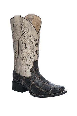 Women's Dual-Colored Ostrich Patchwork Embroidered Cowboy Boots
