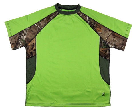 Men's Browning Chalking Tee Performance T-Shirt Green Flash Realtree Camo Size M