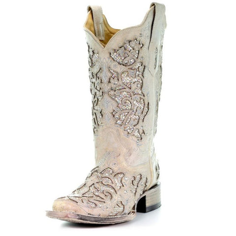 Corral Women's White Glitter & Crystals Square Toe Cowgirl Boot - A3397