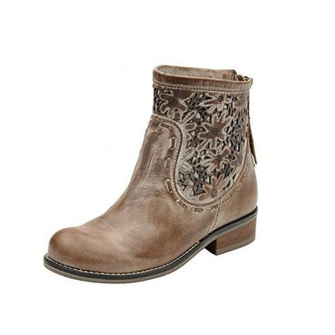Women's Taupe Laser-Cut Short Top Round Toe Boots - PB012