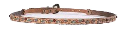 Phunky Horse Hatband w/Tooled Turquoise Flower Design and Studs-HB-06