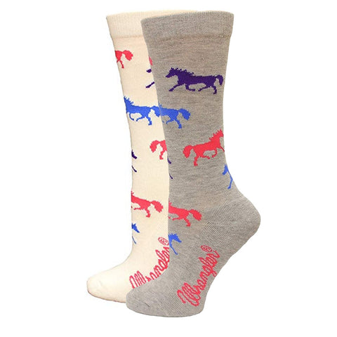 Wrangler Women's Colorful Running Horse Print Boot Socks - 9406