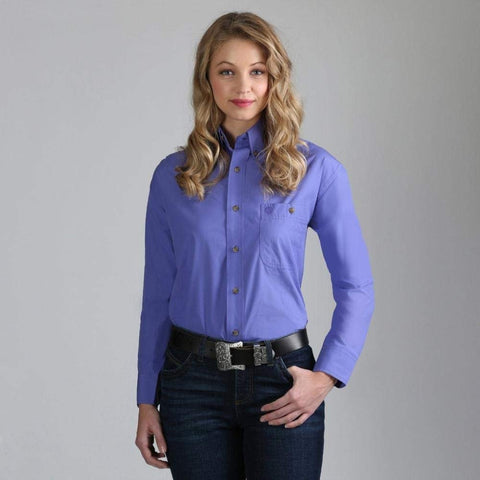 Wrangler Women's Soild Purple Long Sleeve Shirt