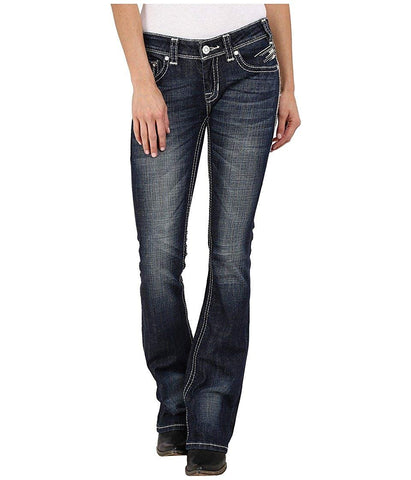 Rock and Roll Cowgirl Women's Rival Bootcut in Dark Vintage W6-6445