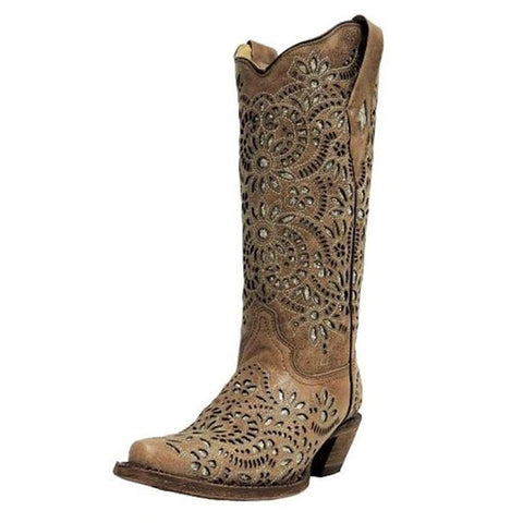 Corral Women's Embroidered Brown Leather Glitter Inlay Snip Toe Boot - A3352