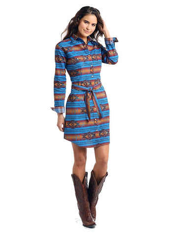 Roughstock by Panhandle Ladies Wasatch Aztec Print Two Pocket Snap Dress