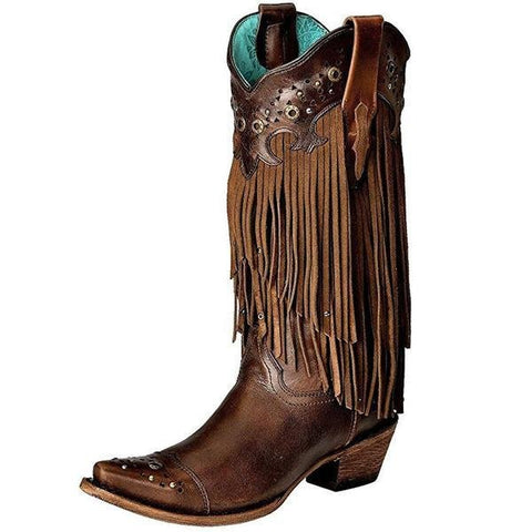 Corral Women's Fringe And Studs Sierra Tan Cowgirl Boot - C1185