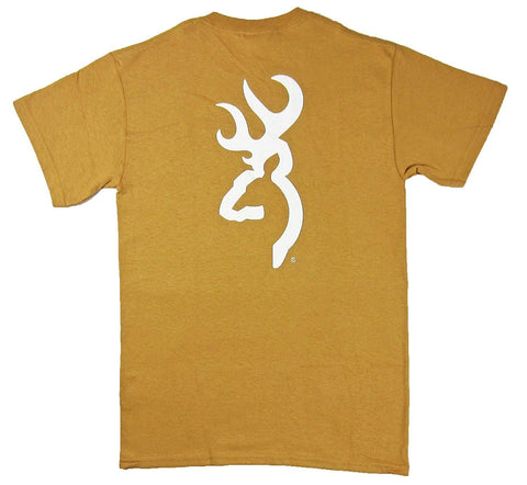 Men's Browning Old Gold & White Buckmark Tee Short Sleeve T-Shirt