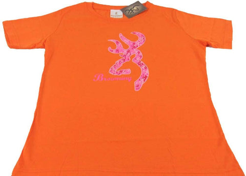 Womens Browning Pink Camo Buckmark Classic Fit Tee Orange T-Shirt Large