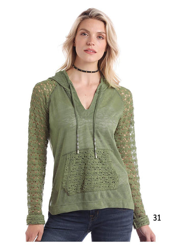 Panhandle White Label Ladies Long Sleeve Hoodie with Lace Trim, Olive