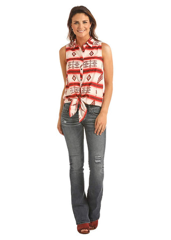 Rock & Roll Cowgirl Juniors Sleeveless Serape Shirt, Red