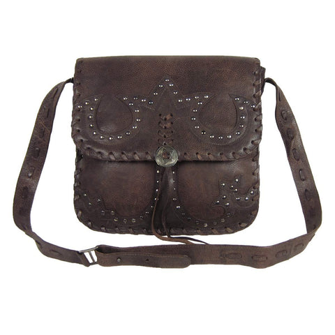 Corral Antique Brown Stitched and Studs Crossbody Satchel Bag - M1014