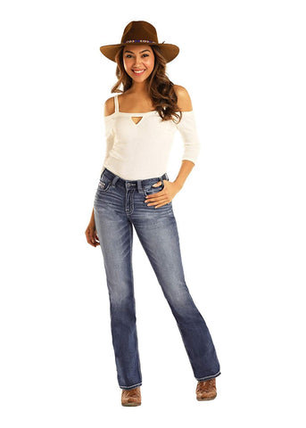 Rock and Roll Cowgirl Mid Rise Boot Cut Jeans, Medium Vintage, 26 x 34