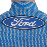 Wrangler Men's Ford Logo Long Sleeve Western Shirt, Royal Blue/White Geo Print, MP2346M