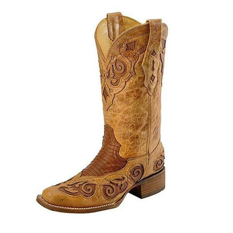 Corral Women's Antique Saddle Teju Lizard Inlay Fashion Square Toe Rodeo Boots - A2638