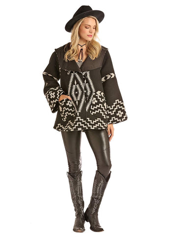 Powder River Outfitters Jacquard Aztec Wool Cape Coat, Black