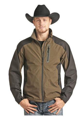 Powder River Outfitters Mens Long Sleeve Two-Tone Softshell Jacket, Brown