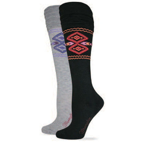 Wrangler Women's Aztec Print Ruffled Knee High Boot Sock - 959 (2 Colors)