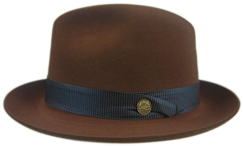 "Walnut Brown Hoover Fur Felt Fedora Size 7 1/4 R Oval 2"" Brim"