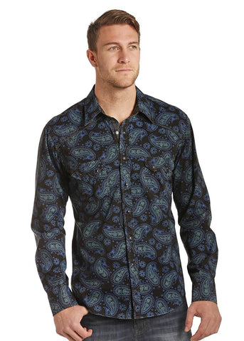 Rock & Roll Cowboy Crinkle Washed Paisley Print Long Sleeve Snap Shirt