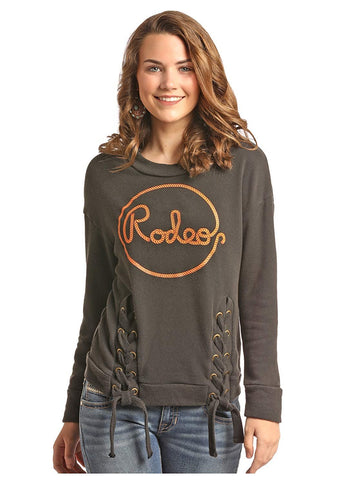 Rock & Roll Cowgirl Juniors Long Sleeve Pullover Sweatshirt Lace-up Rodeo Graphic