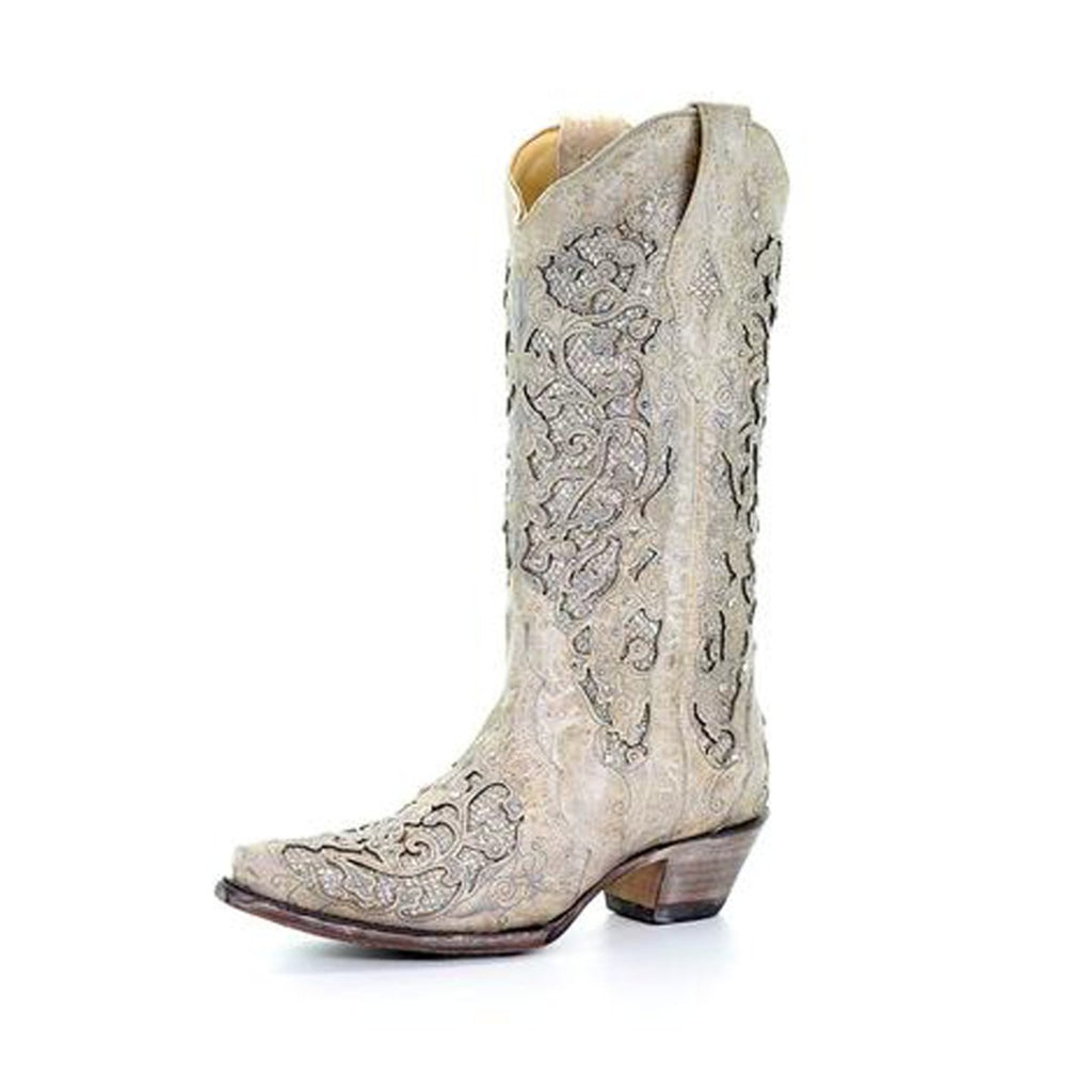 Corral Women S Crystal Glitter Inlay Snip Toe Boots A3322