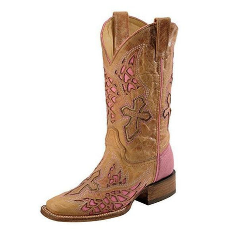 Women's Side Wing And Cross Fashion Square Toe Boots - A2645