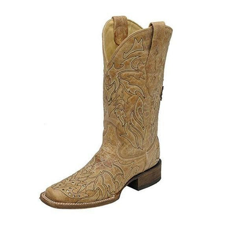 Women's Saddle Brown Embroidered Cross and Crystals Square Toe - A2836