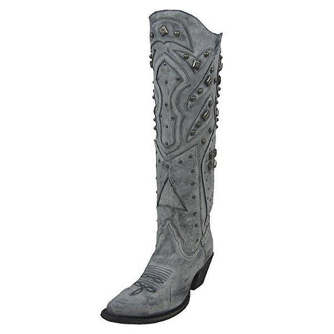 Women's LD Grey Full Studded Snip Toe Cowgirl Boots - R1331