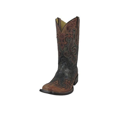 Corral Men's Black With Cognac Overlay Square Toe Cowboy Boots