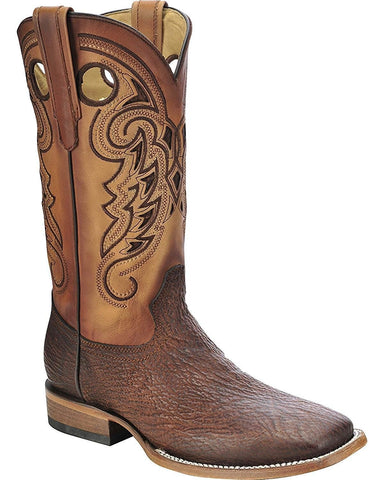 Men's Shark Vamp Cowboy Boot Square Toe Tan C3013