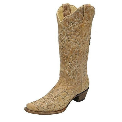 Women's Saddle Brown Embroidered Cross and Crystals Snip Toe Cowgirl Boot - A2839