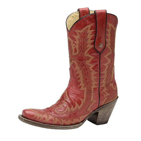 Women's Red Stitched Vamp and Tube Snip Toe Cowgirl Boots - G1900
