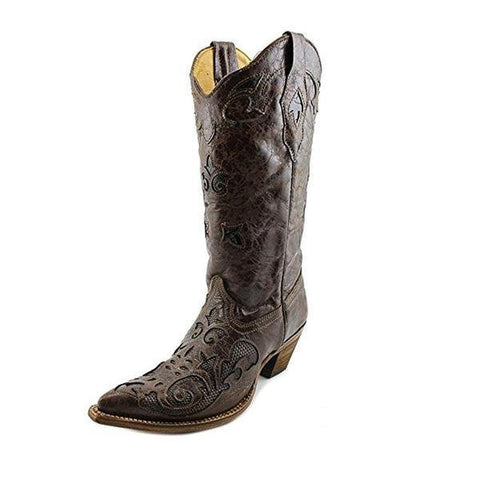 Corral Women's Chocolate Lizard Inlay Western Cowgirl Boot Pointed Toe - C2109