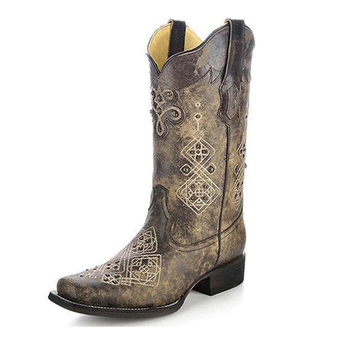 Corral Women's Studded Embroidered Cowgirl Boot Square Toe