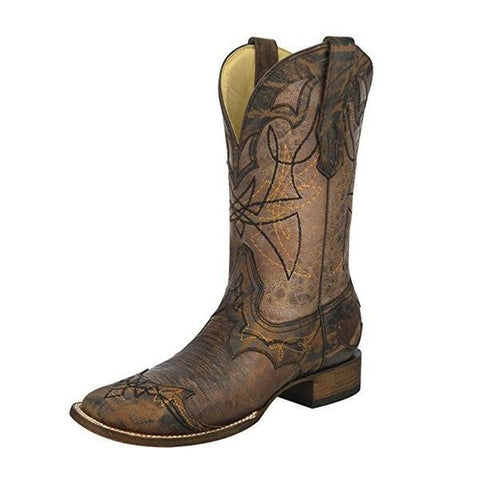 Corral Men's Distressed Lizard Cowboy Boot Wide Square Toe